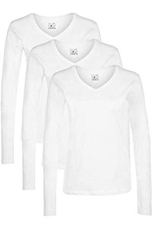 Berydale Camiseta de manga larga de mujer, con cuello de pico, lote de 3, en varios colores