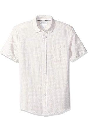 Amazon Essentials Camisa de lino a rayas, de manga corta y corte entallado para hombre