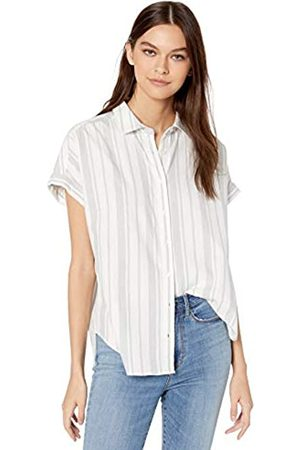 Goodthreads Solid Brushed Twill Short-Sleeve Button-Front Shirt Dress-Shirts, White/Grey Awning Stripe