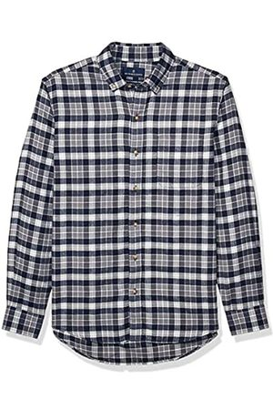 Buttoned Down Tailored Fit Supima Cotton Plaid Flannel Sport Shirt Button-Down-Shirts, Navy/Grey