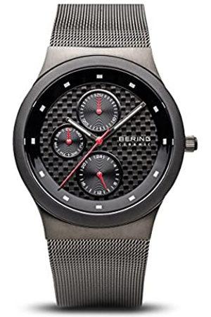 BERING Ceramic - Reloj analógico de caballero de cuarzo con correa de acero inoxidable negra - sumergible a 50 metros