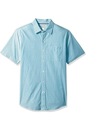 Amazon Slim-Fit Short-Sleeve Gingham Shirt camisa de vestir, Aqua