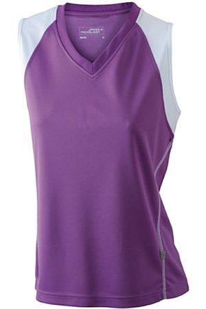 James & Nicholson Ladies' Running Tank - Camiseta Transpirable sin Mangas de Running para Mujer, Color Morado/