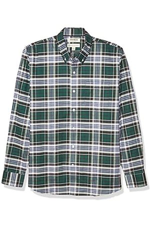 Goodthreads Standard-Fit Long-Sleeve Stretch Oxford Shirt (All Hours) Button-Down-Shirts, Cuadros (Green Multi Plaid)