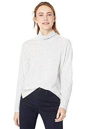 Goodthreads Vintage Cotton Roll-Sleeve V-Neck T-Shirt Fashion-t-Shirts, White Mini Stripe