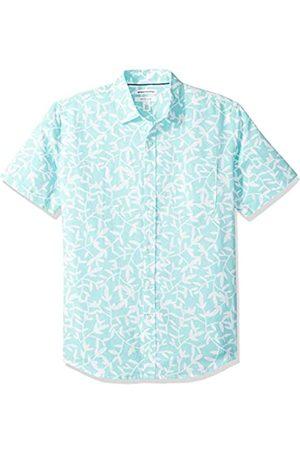 Amazon Camisa a cuadros de lino con manga corta para hombre.