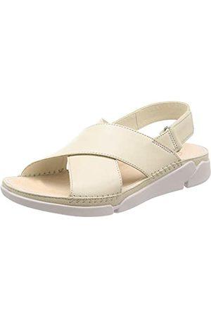 Clarks Tri Alexia, Sandalias de Talón Abierto para Mujer, (White Leather White Leather)
