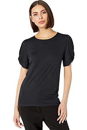 Lark & Ro 1-by-1 Rayon Span Pleated Short Sleeve Top Dress-Shirts