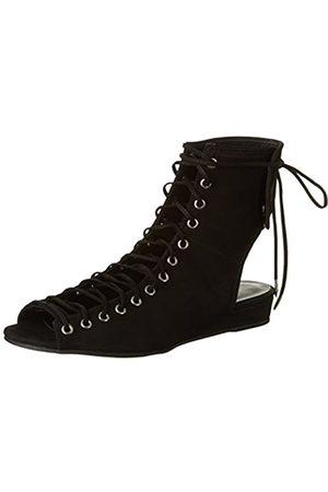 Shoe Biz Sandal Gladiator, Sandalias con Cuña para Mujer, (Nubuk Black)