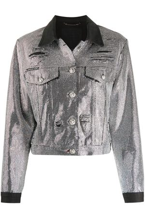Philipp Plein Mujer Vaqueras - Crystal-embellished denim jacket