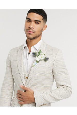 ASOS Chaqueta de traje muy ajustada de algodón elástico y lino a cuadros color piedra de wedding