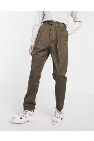 ASOS Pantalones de pernera ancha y talle alto a rayas marrones de -Marrón