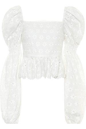 Caroline Constas Top Wren de algodón bordado