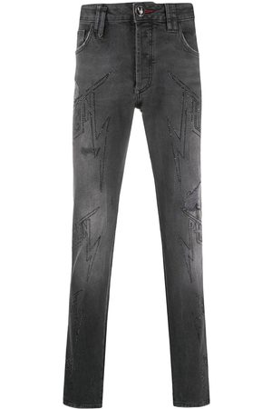 Philipp Plein Hombre Rectos - Denim embellished logo jeans
