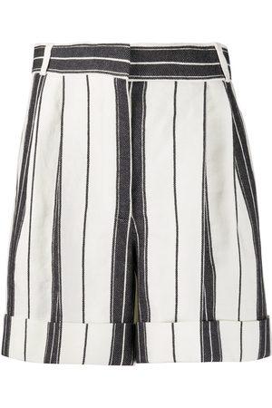 Alexander McQueen Mujer Pantalones cortos - Pantalones cortos a rayas de talle alto