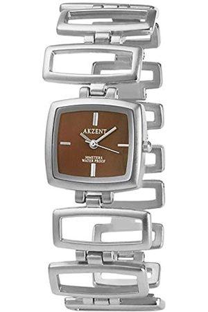 Akzent SS7127000075 - Reloj analógico de mujer de cuarzo con correa de aleación plateada - sumergible a 30 metros