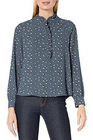Lark & Ro Blusa de Manga Larga con Solapa con Botones Blouses