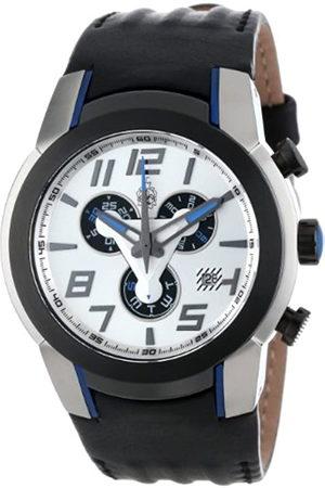 Burgmeister BM701-112B - Reloj cronógrafo de caballero de cuarzo con correa de piel negra (cronómetro) - sumergible a 100 metros