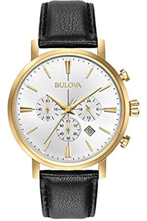 BULOVA Classic Aerojet 97B155 - Reloj de Pulsera de Diseño para Hombre - Función de Cronógrafo - Correa de Cuero - Dorado