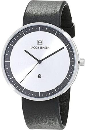 Jacob Jensen Reloj analógico para Hombre de Cuarzo con Correa en Piel Strata Mens Black Watch 270