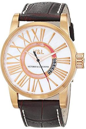 V&L Reloj Análogo clásico para Hombre de Cuarzo con Correa en Cuero VL068502