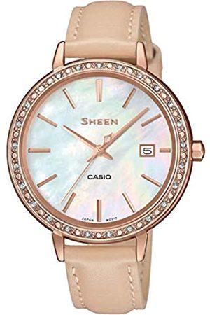Casio Reloj Analógico para Mujer de Cuarzo con Correa en Cuero SHE-4052PGL-7BUEF