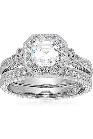 Amazon Collection Mujer plata de ley 925 platino-bañado-plata asscher-shape;round-brilliant-shape zirconia cúbica