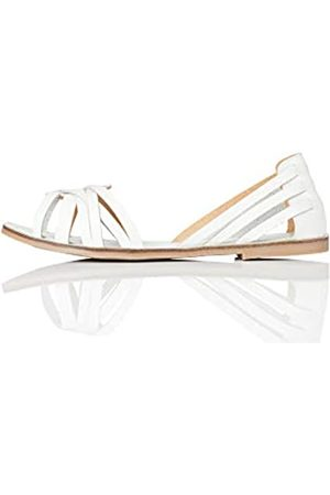 FIND Marca Amazon - FIND Open Toe Hurrache Sandalias de Punta Descubierta, (White)