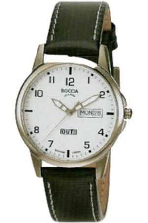 Boccia 604-12 - Reloj analógico de caballero de cuarzo con correa de piel negra