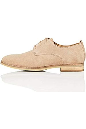 FIND Leather Zapatos de Cordones Derby, (Taupe)