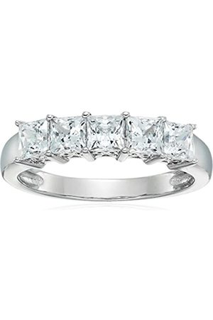 Amazon Collection Mujer plata de ley 925 platino-bañado-plata princess-shape zirconia cúbica
