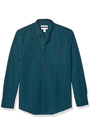 Amazon Regular-Fit Gingham Long-Sleeve Pocket Oxford Shirt button-down-shirts, Green/Navy