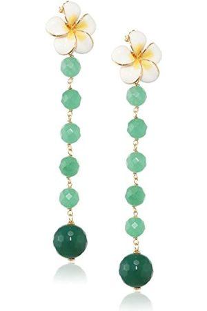 MISIS Para mujer 925 Everglades Juego de pendientes de plata de ley chapado en oro corte redondo verde OR09142BI 8 cm de ágata