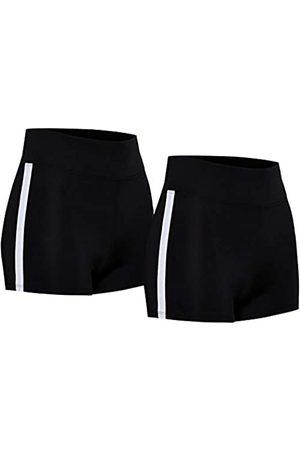 AURIQUE Marca Amazon - Shorts de Deporte con Banda Lateral Mujer, 40