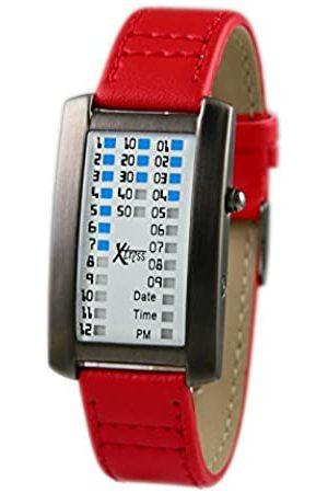 XTRESS RelojBinarioparaHombredeCuarzoconCorreaenCueroXDA1030R