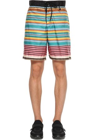 Prada   Hombre Bañador Shorts De Nylon Con Estampado De Rayas 44