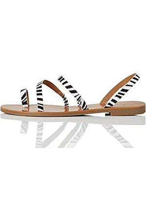 FIND Marca Amazon - Flat Gladiator Sandalias de Gladiador, Schwarz (Zebra)