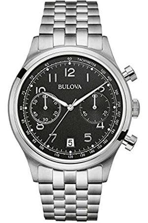 BULOVA Classic Vintage 96B234 - Reloj de Pulsera de diseño para Hombre - Función de cronógrafo - Acero Inoxidable - Esfera Negra
