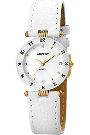 Akzent SS7302000014 - Reloj analógico de mujer de cuarzo con correa de piel blanca