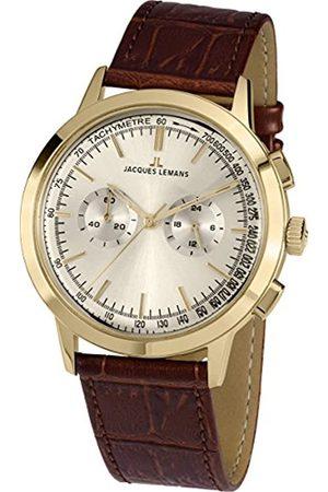 JACQUES LEMANS Nostalgie N-1564B - Reloj de Cuarzo para Hombre, Correa de Piel