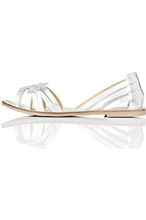 FIND Marca Amazon - FIND Open Toe Hurrache Sandalias de Punta Descubierta, (Silver)