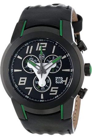Burgmeister BM701-622B - Reloj cronógrafo de caballero de cuarzo con correa de piel negra (cronómetro) - sumergible a 100 metros