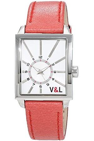 V&L Reloj Análogo clásico para Mujer de Cuarzo con Correa en Cuero VL055603