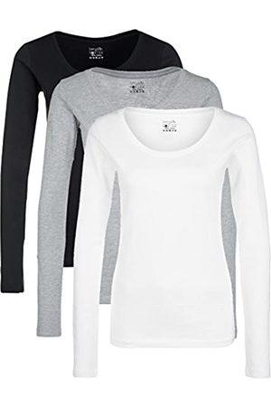 Berydale Camiseta de manga larga de mujer con cuello redondo, pack de 3, / /