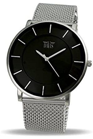 Davis 0910MB - Reloj Diseño Hombre Mujer Cuadrante Extra Plano Correa Acero Mesh Malla Milanese