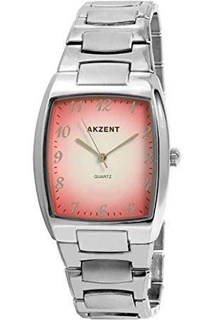 Akzent SS7625000025 - Reloj analógico de caballero de cuarzo con correa de aleación plateada - sumergible a 30 metros
