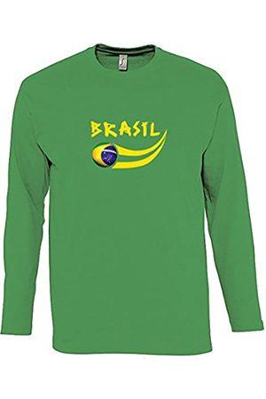 Supportershop – Camiseta para Hombre L/S Brasil fútbol, T-Shirt Homme L/S Vert Brésil