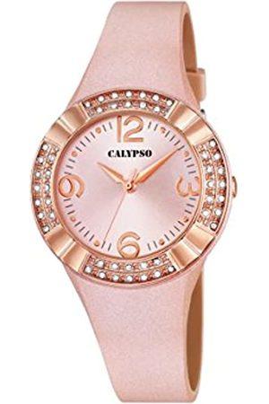 Calypso Reloj analógico para Mujer con Pantalla Oro y Correa de Piel Oro (Mecanismo de Cuarzo).