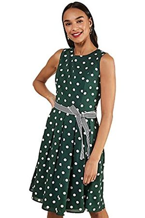 Yumi Spot Print Dress with Contrast Belt Vestido Informal