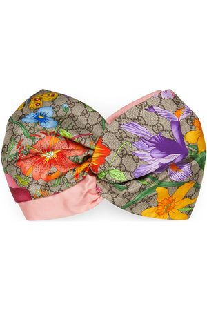 Gucci Diadema de seda con estampado GG Flora